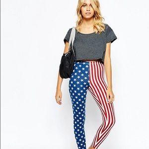 NWT American Apparel American Flag Leggings